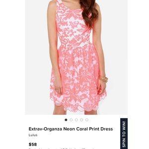 Lulu's Extrav-Organza Neon Coral Print Dress